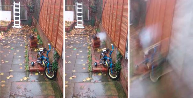 Thames Valley Police undated handout stills from a video of Mohammed Rehman testing a home made explosive device in his garden in Reading. PA