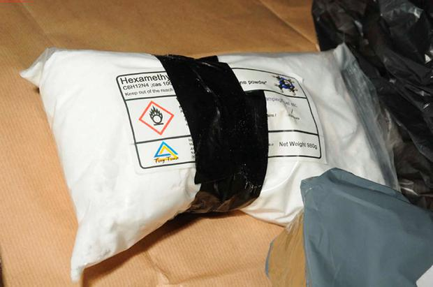 Thames Valley Police undated handout photo of chemicals that was uncovered in the Reading home of Mohammed Rehman. PA