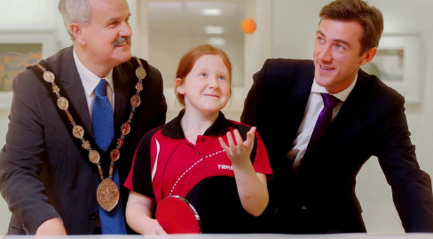 Smash hit: Mayor of Lisburn & Castlereagh Cllr Thomas Beckett, Ulster's Sophie Earley and Gareth Gibson, Partner of Douglas Huston, launch the Douglas Huston Ulster Open