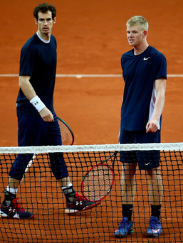 Warm up: Andy Murray and Kyle Edmund practice at Flanders Expo