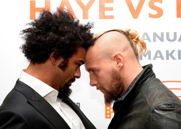 Head to head: David Haye will return under new Shane McGuigan with a clash against Mark de Mori (right) on January 16 at London's O2 Arena