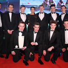 Young guns: Portora Royal School Boat Club Boys Junior Coxed Eight receive their 2014 Young Team award from Sport NI Young Ambassador Bethany Firth and Richard Archibald of SINI