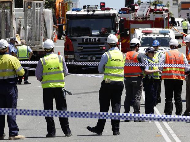 Perth police seal off the area where the accident occurred