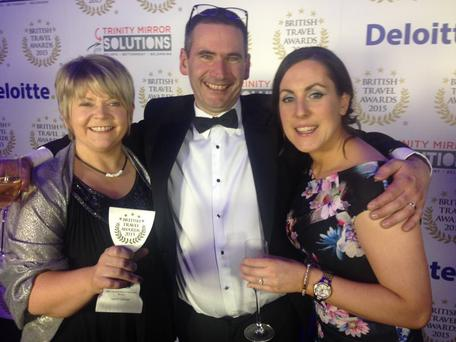 Picking up the British Travel Award 2015 were Esther Dobbin, Commercial and Visitor Operations Manager, Alastair Walker, Giant's Causeway Site Manager and Catherine McAuley, Retail Supervisor.