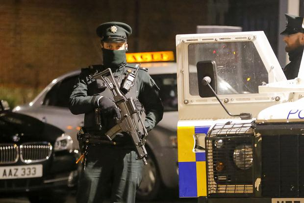Police at the scene of a shooting in the Rosnareen Area of west Belfast, Northern Ireland on November 26 (Photo by Kevin Scott / Presseye )