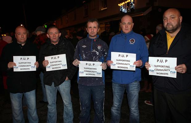 Members of the local branch of the PUP turned out to show thier support for Aaron McMahon. Photos: Freddie Parkinson/Press Eye