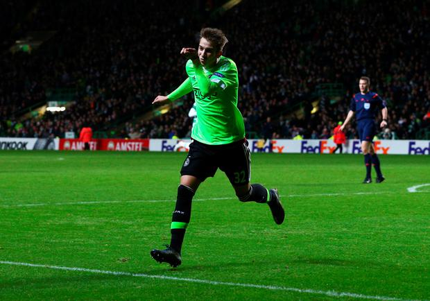 Vaclav Cerny of Ajax celebrates as he scores their second goal during the UEFA Europa League Group A match between Celtic FC and AFC Ajax at Celtic Park on November 26, 2015 in Glasgow, United Kingdom. (Photo by Mark Runnacles/Getty Images)