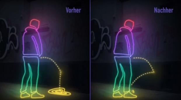 Those who pee in public have been warned that some walls in Cologne may pee back. Image: IG St Pauli/YouTube Screenshot