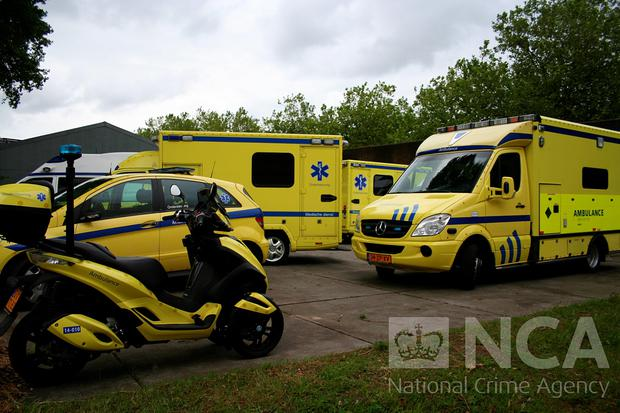 Undated handout photo issued by the National Crime Agency (NCA) of a fleet of fake ambulances, as Leonardus Bijlsmar, 55, has been found guilty of conspiring to smuggle drugs into the UK using a fake ambulance in connection with an audacious £1.6 billion operation