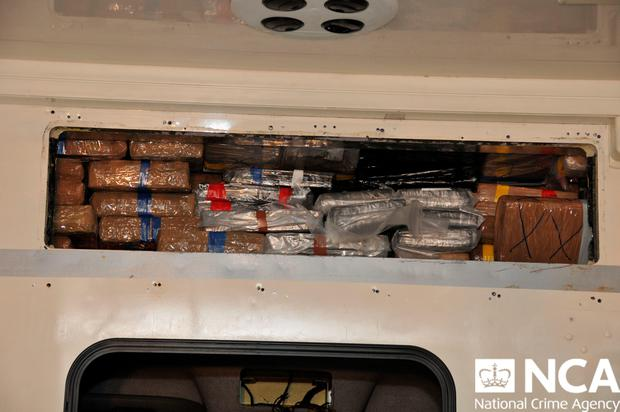 Drugs inside a fake ambulance used to smuggle cocaine, heroin and ecstasy into the UK