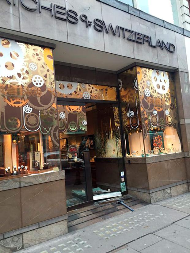 The Watches of Switzerland store in Kensington following a smash and grab raid. Christophe Leyvraz /PA Wire.