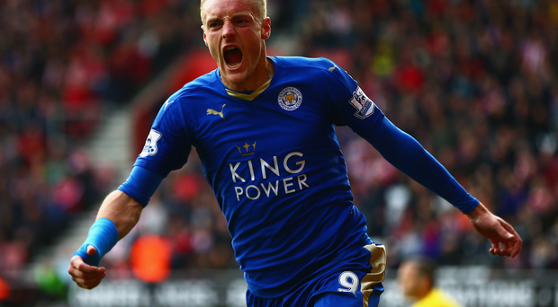 On form: Leicester forward Jamie Vardy is aiming to score against Manchester United this evening and create a new record of netting in 11 successive Premier League games, beating former Red Devils' hitman Ruud van Nistelrooy in the process