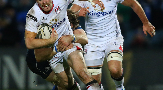 Attack-minded: Darren Cave goes on the charge for Ulster