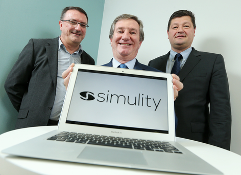 Press Release Image Press Eye Ltd Friday 27th November 2015 Photographer Kelvin Boyes / Press Eye Software firm Simulity Labs has established a ten person software engineering centre in Belfast with support from Invest Northern Ireland. Pictured (L - R) are Alan McKee, Simulity Labs General Manager, Bill Montgomery, Invest NI, and Stephane Fund, CEO Simulity Labs Ltd.