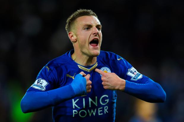 Vard to believe: Jamie Vardy celebrates his 11 in a row Premier League scoring record