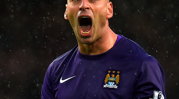 Bounce back: Willy Caballero enjoys Manchester City's win