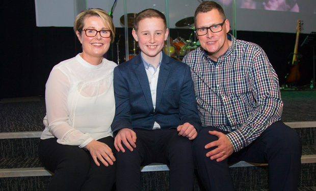 Bangor schoolboy Josh Martin, who was recently given the all-clear after a courageous battle with cancer, attends Bangor Elim Church with his mother Kim and father Tim. A large crowd turned out to hear Josh talk about his battle back to health, and to give thanks for his recovery