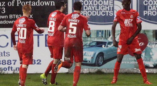 @Press Eye Ltd Northern Ireland- 28th November 2015 Mandatory Credit -Brian Little/Presseye Portadown Marcio Soares celebrates his goal against Linfield during Saturday's Danske Bank Premiership match at Shamrock Park. Picture by Brian Little/Presseye