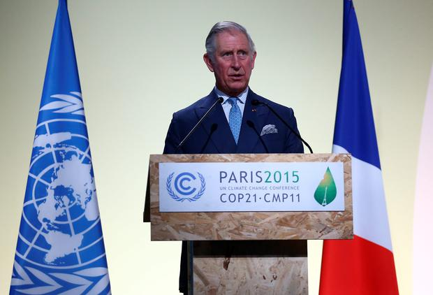 Prince Charles makes a keynote speech at the opening session of the United Nations Climate Summit on November 30, 2015 in Paris, France. Photo by Carl Court/Getty Images.