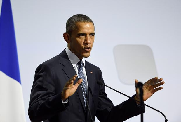 US President Barack Obama delivers a speech during the plenary session at the COP 21 United Nations conference on climate change, on November 30, 2015 at Le Bourget, on the outskirts of the French capital Paris. More than 150 world leaders are meeting under heightened security. AFP/Getty Images