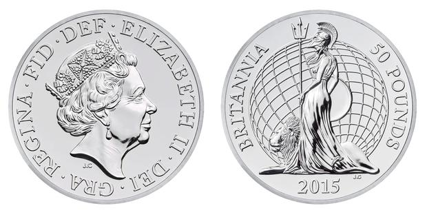 Royal Mint handout photo of its first ever £50 coin which also has a face value for the same amount. PA