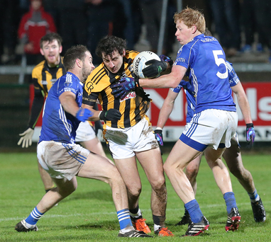 Press Eye Northern Ireland - AIB Ulster GAA Club Seor Football Championship Final - Crossmaglen v Scotstown Photograph by Declan Roughan 29th November 2015 Crossmaglen's Jamie Clark goes past Scotstown's Mark Duffy, Emmet Caulfield and Damien McArdle