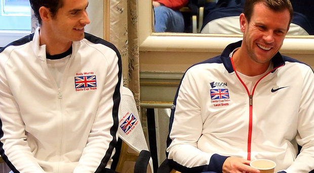 GHENT, BELGIUM - NOVEMBER 30: The Great Britain team of Captain Leon Smith, Kyle Edmund, Andy Murray, James Ward and Jamie Murray talk during a press conference after their victory in The Davis Cup Final match between Great Britain and Belgium on November 30, 2015 in Ghent, Belgium. (Photo by Jordan Mansfield/Getty Images for LTA)