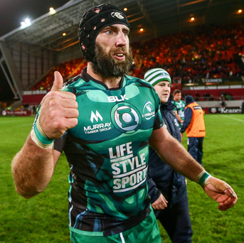 Guinness PRO12, Thomond Park, Limerick 28/11/2015 Munster vs Connacht Connacht's John Muldoon celebrate after the game Mandatory Credit ©INPHO/James Crombie