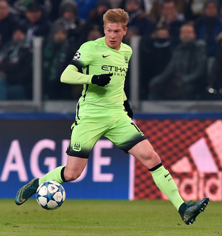 TURIN, ITALY - NOVEMBER 25: Kevin De Bruyne of Manchester City FC in action during the UEFA Champions League group stage match between Juventus and Manchester City FC at Juventus Arena on November 25, 2015 in Turin, Italy. (Photo by Valerio Pennicino/Getty Images)