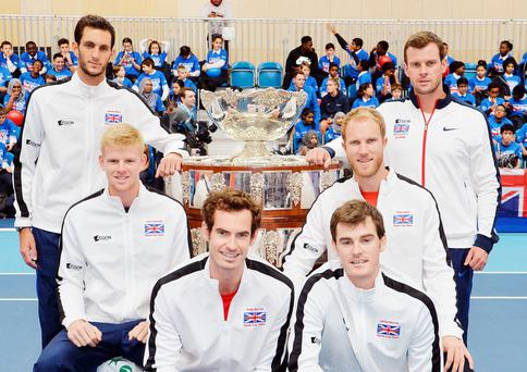 Winning combination: (l to r) GB's James Ward, Kyle Edmund, Andy Murray, Jamie Murray, Dom Inglot and coach Leon Smith