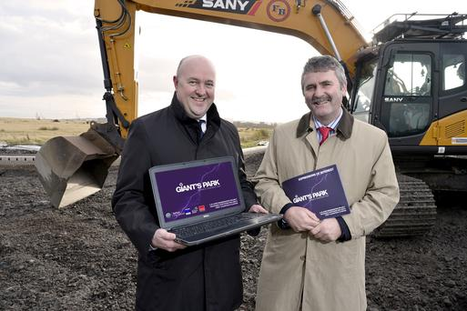 David McNellis, Lisney director with councillor Declan Boyle, launching the new Giant's Park 'clean tech' development in north Belfast
