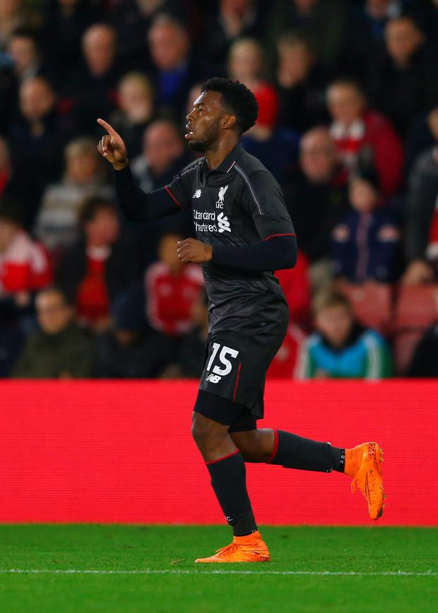 Daniel Sturridge of Liverpool celebrates as he scores their first goal during the Capital One Cup quarter final match between Southampton and Liverpool at St Mary's Stadium on December 2, 2015 in Southampton, England. (Photo by Michael Steele/Getty Images)