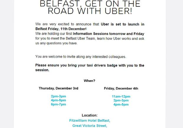 Uber launches in Belfast on December 11