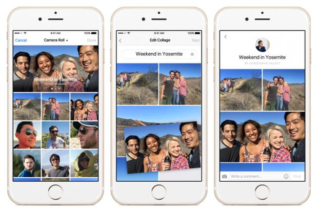 Live Video will allow you to stream footage to your Facebook friends. Collage will automatically sort your photos into shareable mini-albums. Image: Facebook