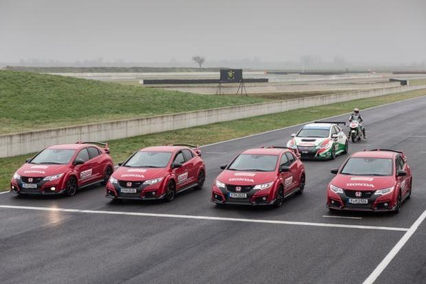Castrol Honda WTCC drivers Gabriele Tarquini and Tiago Monteiro, Moto GP rider Jack Miller along with BTCC stars Matt Neal, 2015 Champion Gordon Shedden and development driver Jack Clarke race to put the 2015 Civic Type R through its paces on track.