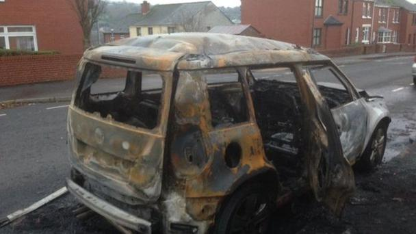 The charred remains of the car were all that remained after the incident. Pic BBC