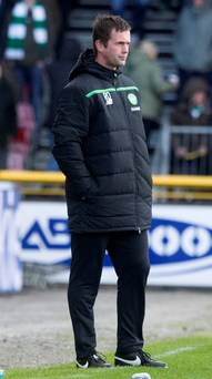 Celtic manager Ronny Deila on the touchline