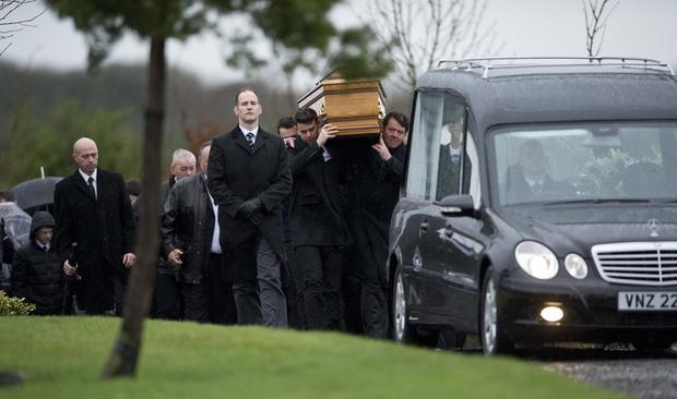 The funeral of Gerard Bradley who was killed in an accident on a building site in Australia. Pic Mark Marlow/Pacemaker