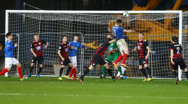 Linfield's Mark Stafford comes close to opening the scoring during Saturdays Danske Bank Premiership game against Coleraine at Windsor Park.