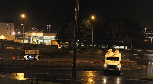 Police at the scene of a security alert in Londonderry on Saturday evening. Pic:Trevor McBride.