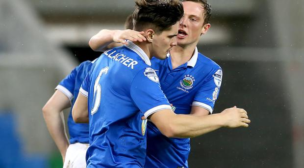 Linfield's Jimmy Callacher celebrates scoring against Coleraine