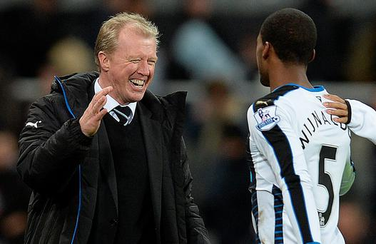 Big victory: Steve McClaren and Georginio Wijnaldum celebrate