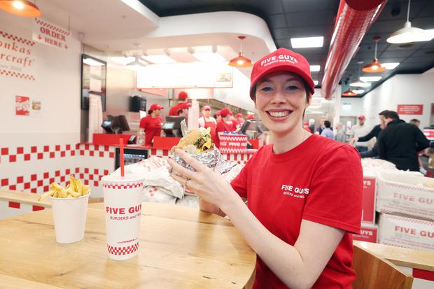 Five Guys Burgers and Fries, the fastest growing restaurant business in the US, arrives in Belfast's Victoria Square Shopping Centre. Picture by Kelvin Boyes / Press Eye.