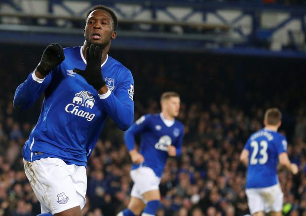 Everton's Belgian striker Romelu Lukaku celebrates scoing his team's first goal during the English Premier League football match between Everton and Crystal Palace at Goodison Park in Liverpool on December 7, 2015. AFP/Getty Images