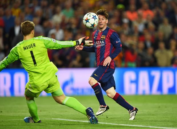 Magic: Lionel Messi scores in the Champions League semi-final