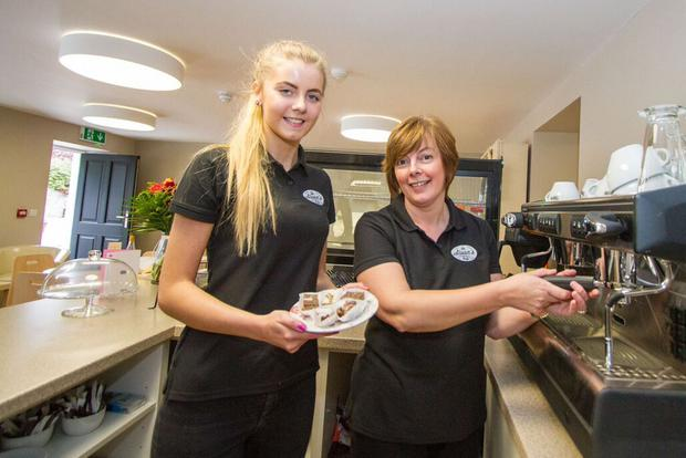 Heather McQueen (right) and a member of staff at the newly opened Sloan's Coffee Shop in Loughgall, Co Armagh