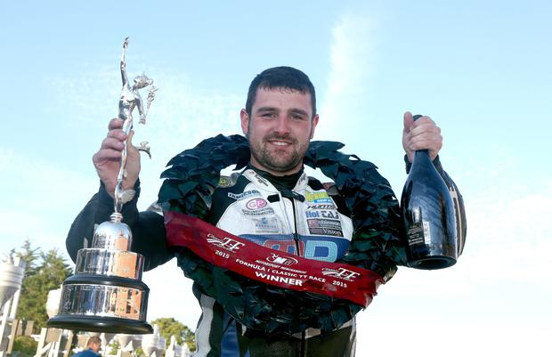 Prize fighter: Michael Dunlop toasts his Classic TT success in 2015 and (inset) Lee Johnston is aiming for podium places