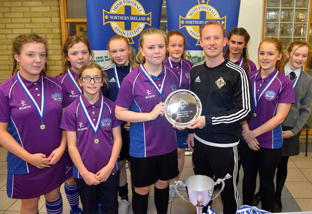 Class act: Breda Academy Year 10 and 11 football girls have been scoring tournament success