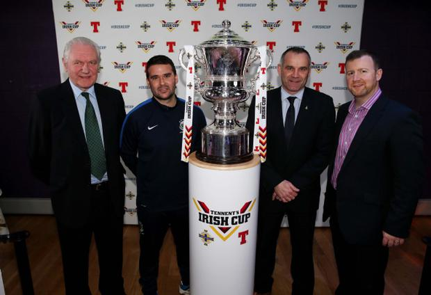 Star attraction: IFA President Jim Shaw, Linfield boss David Healy, Ballymena United manager Glenn Ferguson and Rod McCrory from sponsors Tennent's NI at the Irish Cup fifth round draw