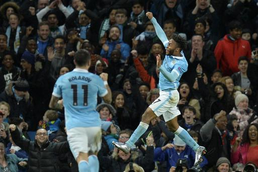 Hitting the heights: Raheem Sterling salutes his double in Manchester City's comeback victory at the Etihad